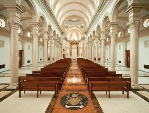 View from the entrance, down the nave toward the altar. Photo: © schafphoto.com
