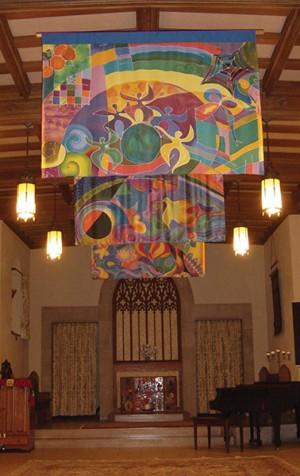 Banners created for Mount Holyoke College's interfaith chapel. Photo: Nancy Katz