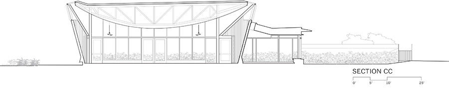 Bet Ha'Am, elevation section, showing curved ceiling. Courtesy: Shim-Sutcliffe Architects