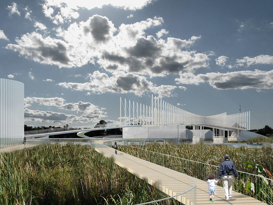 Atherley Narrows Bridge, perspective rendering of the bridge with pathway over marsh and clouded sky. Courtesy: Shim-Sutcliffe Architects