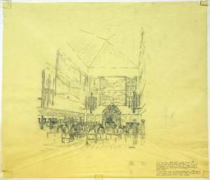 Kahn's drawing of the sanctuary.