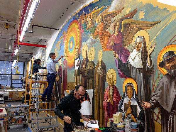 Creating the new 'American Saints' mural.
