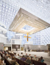 The baldachin is a horizontal 'canopy' that floats about 30 feet above the altar. A large carved crucifix hangs from the open center of the structure.