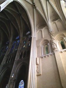 The contrast between the existing interior of Chartres and the newly painted  interior is like night and day.