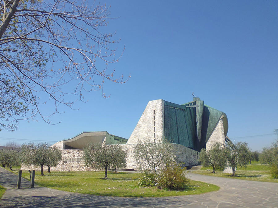 The 'Highway Church' is an oasis of quiet next to the busy A1 Motorway outside of Florence, Italy.