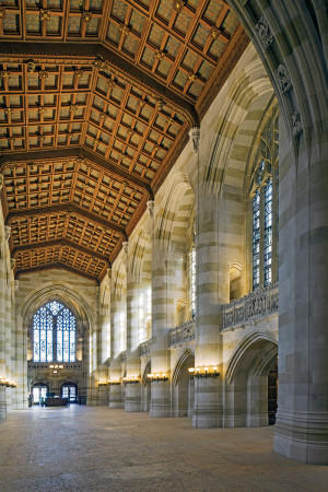 The 'nave' of Yale's Sterling Memorial Library takes the notion of 'sacred-secular' architecture to its extreme, conceived by its architect as a 'cathedral of learning.'