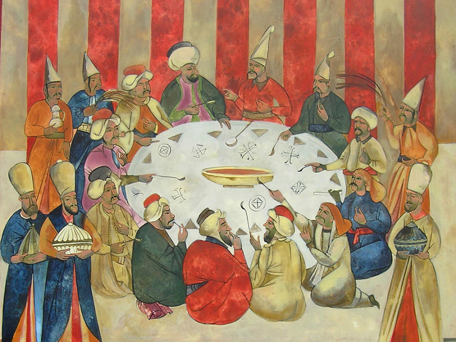 Another of the 'Last Supper' series depicts a shared meal by Turkish figures.