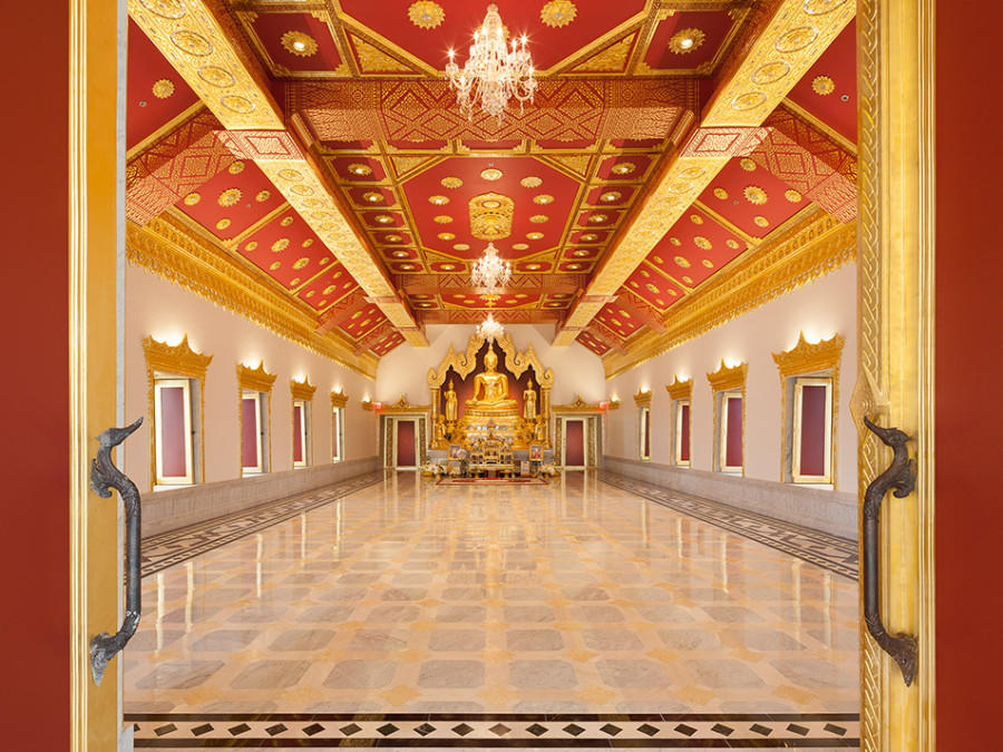 Ubosot Hall on the third floor of the temple is the apex of the Center's worship spaces.