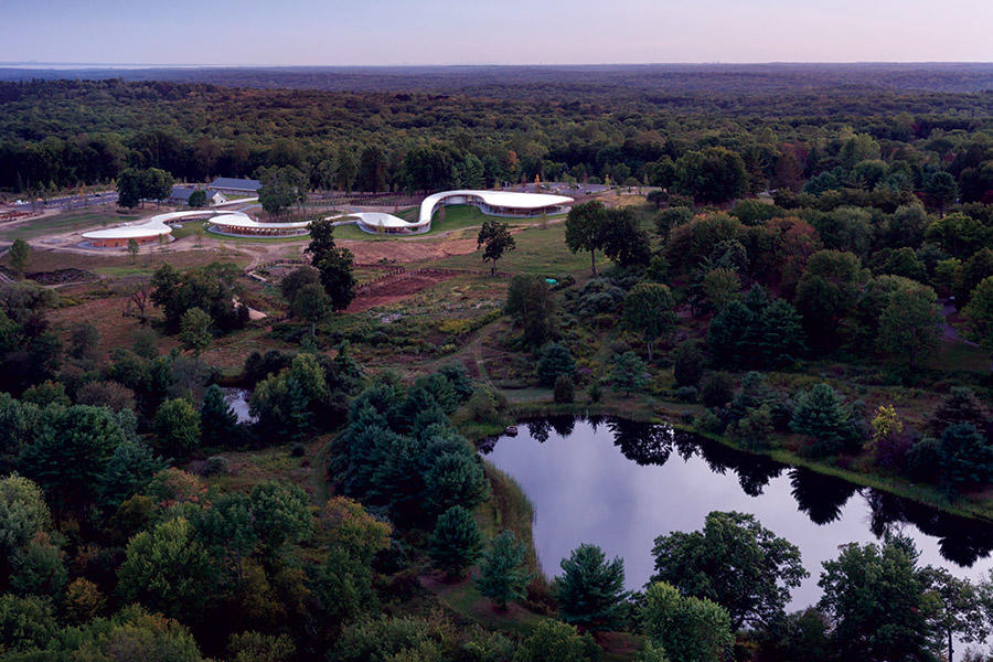 Aerial view of 'The River,' barns, and pond. Photo: Iwan Baan