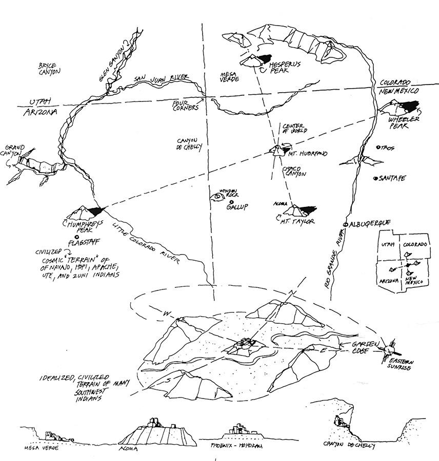 Diagram by William Morrish of the landscape where New Mexico, Colorado, Utah, and Arizona come together, drawn as it is understood by Native Americans who have lived there for centuries.
