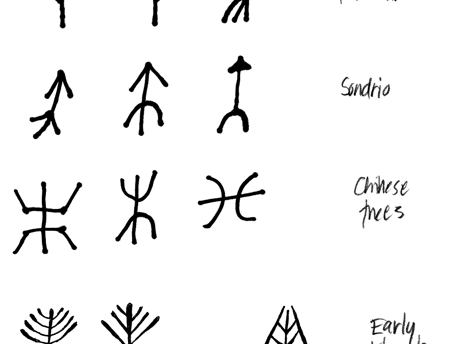 Early alphabets inspired by trees.