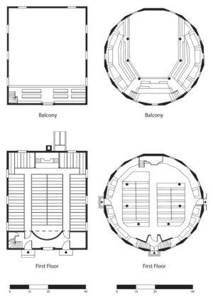 Plans of the meetinghouses drawn at the same scale. Round church courtesy of Udo Riga; rectangle church courtesy of Mills Whitaker Architects, LLC.