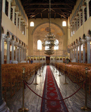 View of central nave of Acheiropoietos Basilica, Thessaloniki.