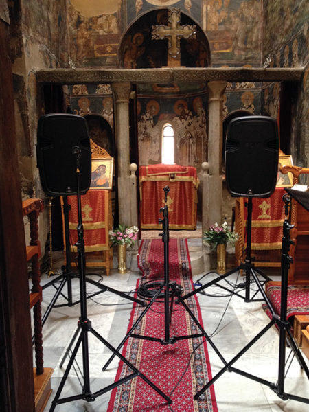 Speakers and recording equipment in St. Nikolaos Orphanos, Thessaloniki, during testing.