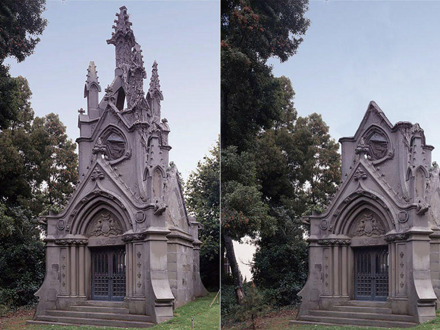 Before and after of the de la Montanya Monument, disintegration of which was halted as a 'stabilized relic.'