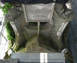 Detail of condition of monument top before stabilization took place.