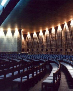 Acoustical treatment of a round worship space