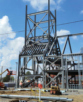 Braced steel framing to increase wind and earthquake resistance.