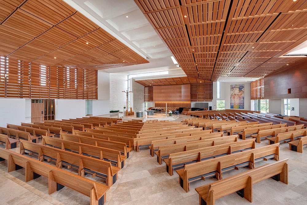Seating radiates out from the altar, drawing all into the celebration of the Eucharist.