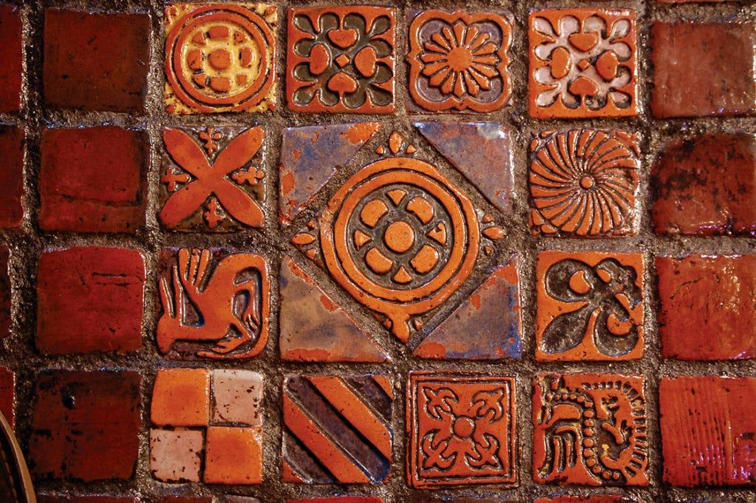 Decorative tiles by Henry Chapman Mercer in St. James Episcopal Church, Lancaster, Pennsylvania, circa 1916.