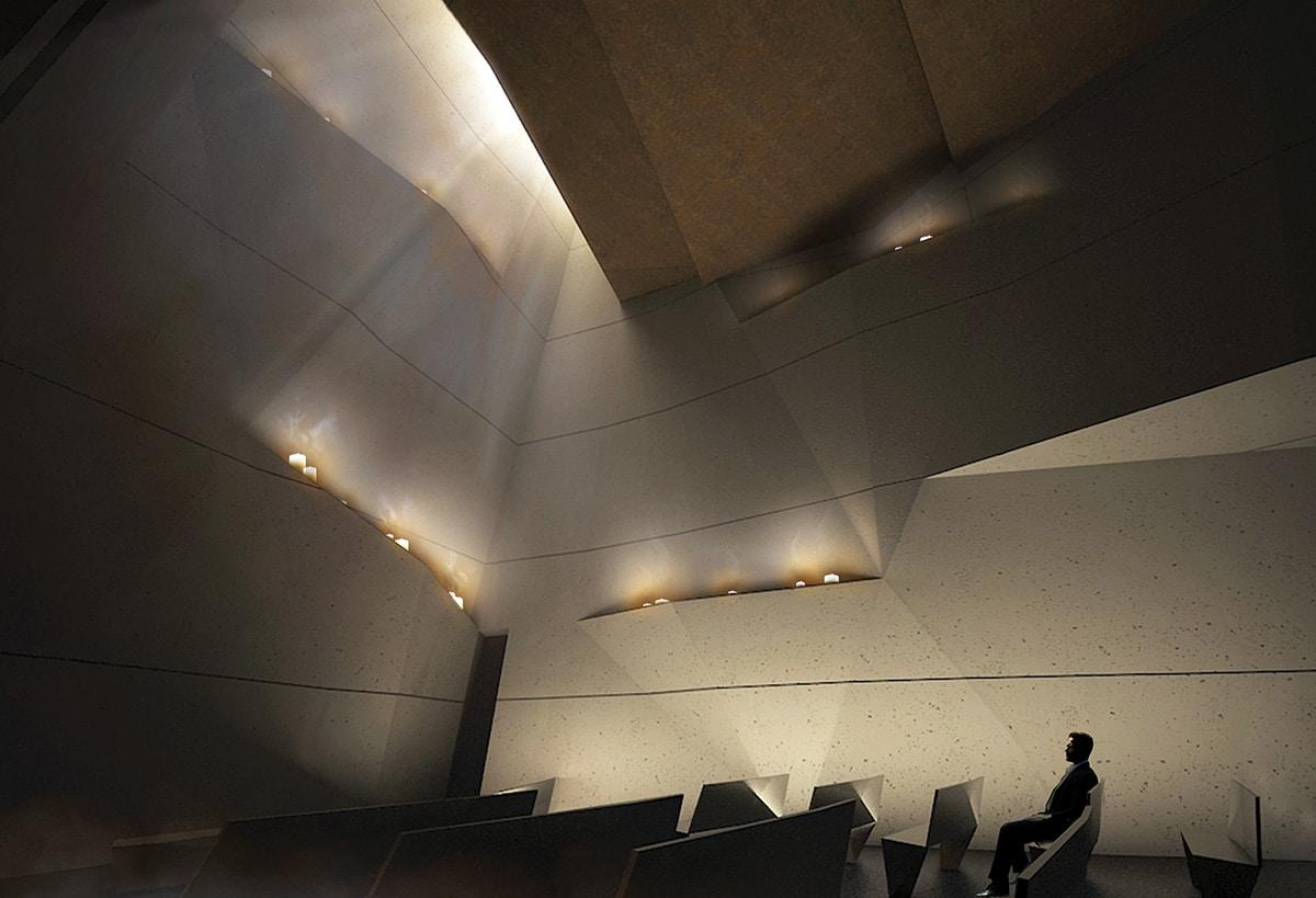 WWII Chapel concept design, nighttime.