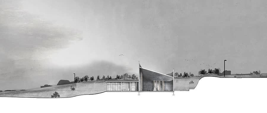 Site section through Buddhist temple design