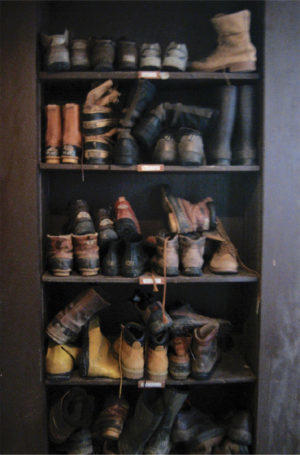 Boots on shelves