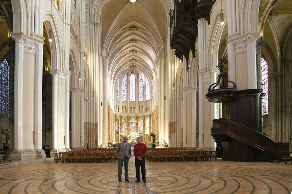 Actor Morgan Freeman explores the sacred power of Chartres Cathedral with the author.