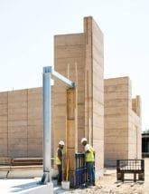 Wall construction is of rammed earth