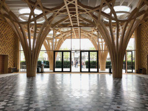 The entrance atrium looks out to the portico and Islamic garden.