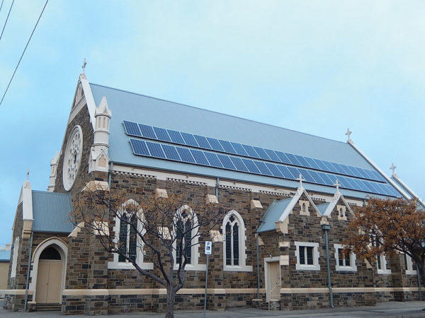 Solar panels on a church roof